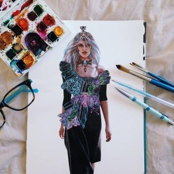 An Illustration/collage by Natasha Dearden in progress.