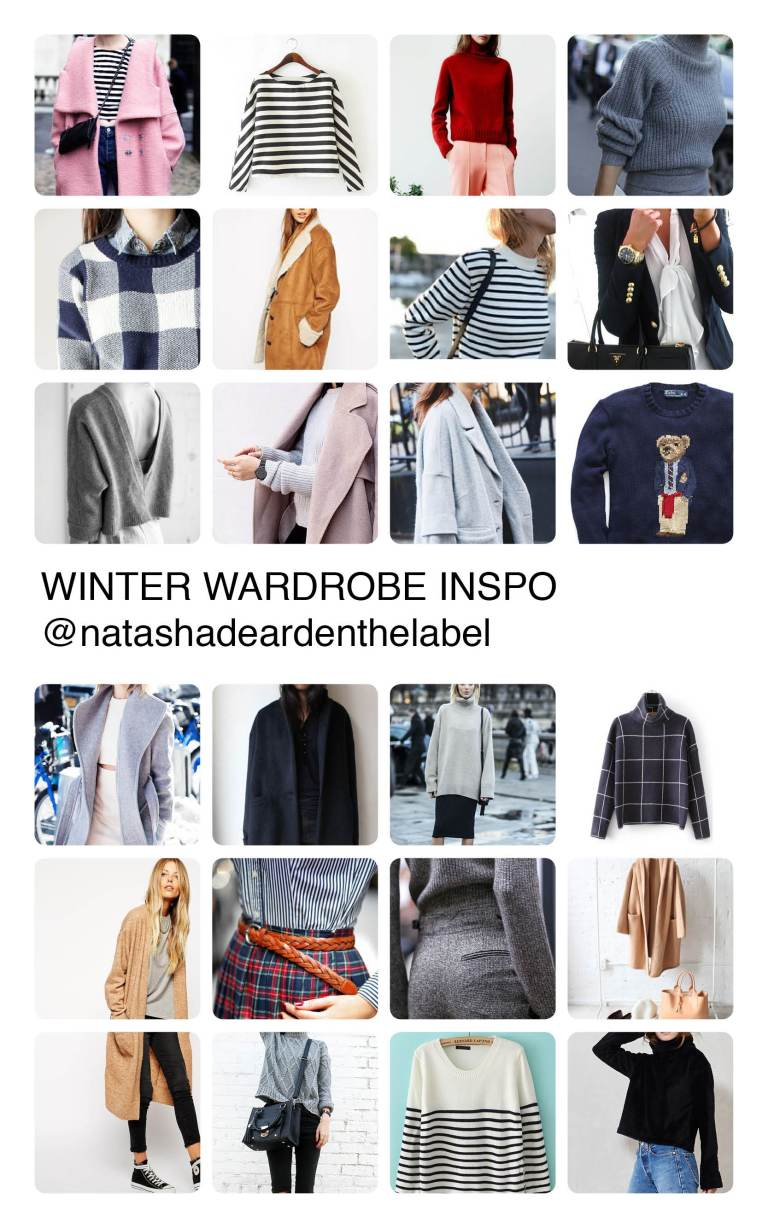 Winter clothing inspiration mood board by Natasha Dearden - with images sourced via Pinterest