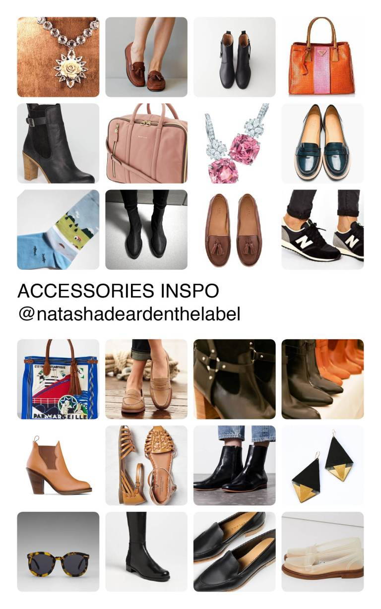 Accessories Inspiration mood board by Natasha Dearden - with images sourced via Pinterest.