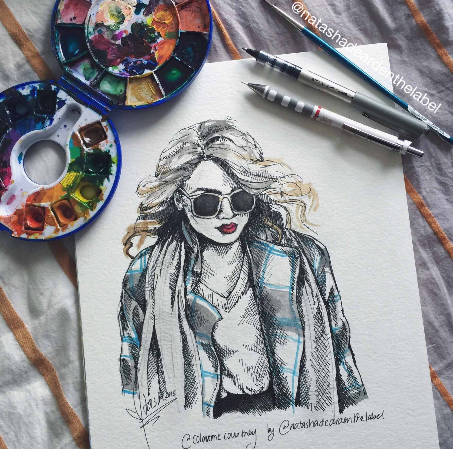 illustration of fashion blogger Color Me Courtney by Natasha Dearden http://natashadearden.com