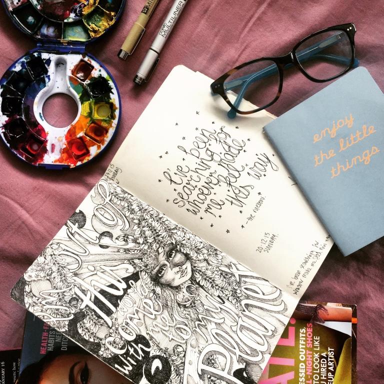 Natasha Dearden Sketchbook Flatlay 24.12.15